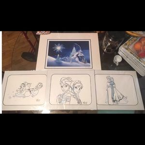 A set of Frozen sketch art from Downtown Disney.
